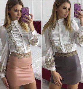Кожаная мини юбка с кружевом (серый, персиковый)