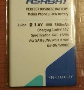 Аккумулятор новый для Samsung Galaxy not 3 mini