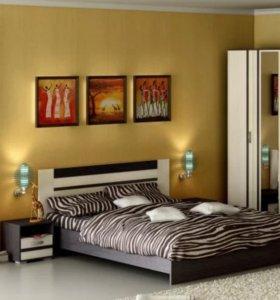 Двуспальная кровать(с матрасом) + прикроват. тумба