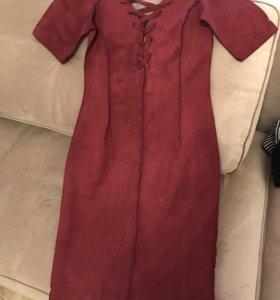 Платье бордовое, р 42-44