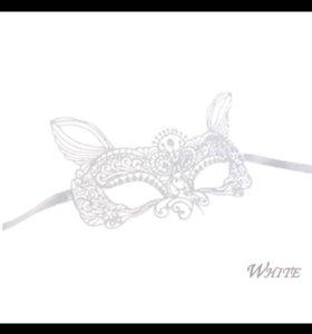 Маска карнавальная маскарадная белая текстильная