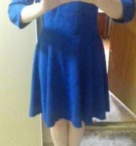 Платье синее, праздничное