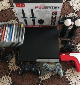 PS3 Slim+PS Move+15игр