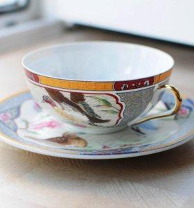 2 чашки с блюдцами из тончайшего фарфора