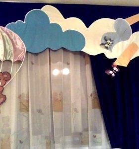 Комплект штор на окно в детскую б/у