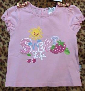 Новая футболка для девочки. Принт. Хлопок.