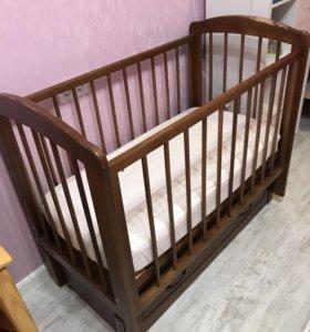 Кроватка маятник детская+матрас