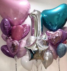 Гелиевые шары, звезды, сердца, цифры на Котлярова
