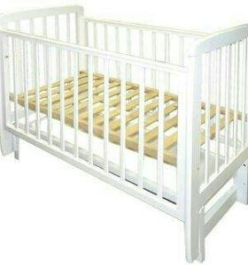 Кроватка детская с продольным маятником + матрас