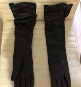 Перчатки до локтя. Натуральная кожа, чёрные.