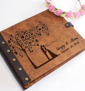 Фотоальбом из дерева и кожи а4