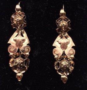 Антиквариат старинные золотые серьги