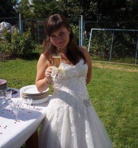 Свадебное платье по колено. 44-46 размера