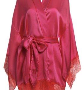 Шелковый розовый халатик Victoria Secret оригинал