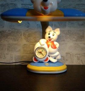 Лампа с часами, настольная (детская)
