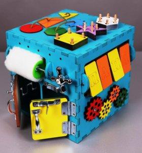 Бизиборд Бизи куб 25 см Бирюзовый