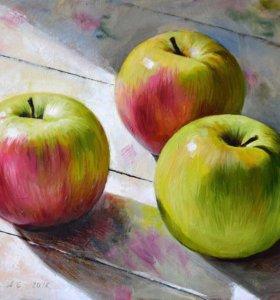 Картина «Свет и яблоки», 60х40 см (масло, холст)