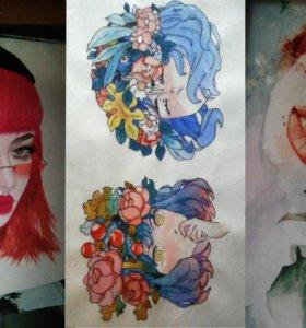 рисунки, портреты