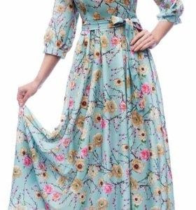 Платье бирюзовое с цветами