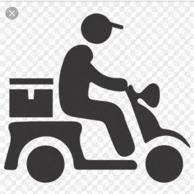 Курьер на своём скутере на доставку еды