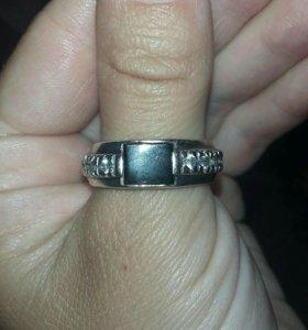 Кольцо мужское серебряное