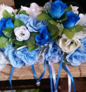 Свадебное украшение на стол молодым