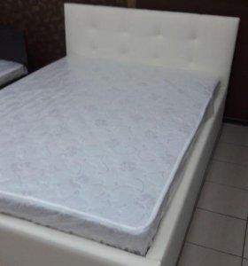 Кровать с матрасом из экокожи 140*200см