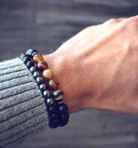 Мужской браслет из натуральных камней 2 шт