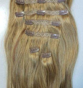 Волосы на заколках натуральные Remy