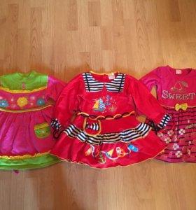 Платье (цена за 3) для девочки длинный рукав