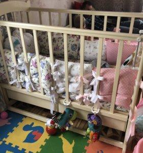Детская кровать качалка с ящиком