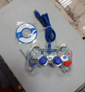 USB геймпад прозрачный проводной Oxion OGP02BL