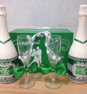 Оформление свадебного шампанского и бокалов