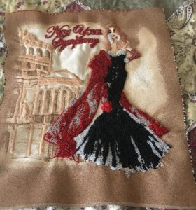 Картина девушка  из бисера ручной работы