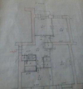 Квартира, 3 комнаты, 66 м²