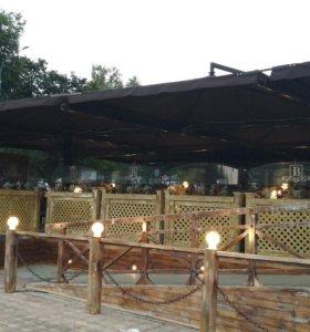 Уличный зонт для кафе и ресторана, 4 купола 7х7м