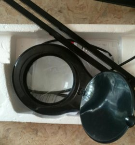 Лампа-лупа на струбцине круглая наст-ная 5Х 90 LED