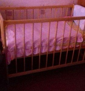 Кроватка детская(матрас и бортики)