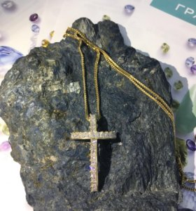 Золотой крест с бриллиантами!