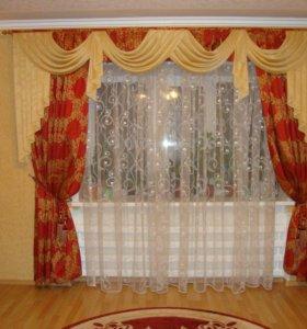 Комплект (шторы и тюль) с ламбрекеном