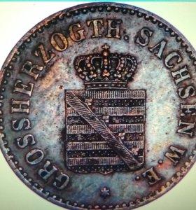 Южная Саксония Германия 2 пфеннига 1856 года