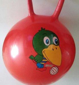 Мяч прыгун с рожками разные цвета и рисунки