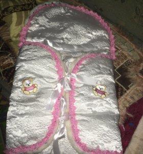 Конверт на выписку для девочки с одеялом