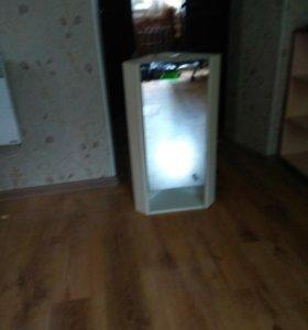 Тумба угловая подвесная с зеркалом.