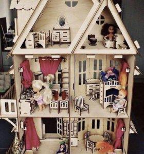 Конструктор Кукольный дом из натур. дерева новый