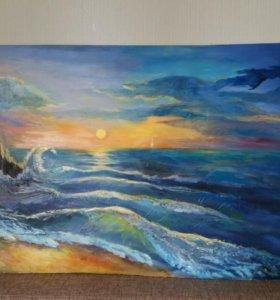 """Картина маслом""""Море"""". 50×70. Холст на подрамнике."""