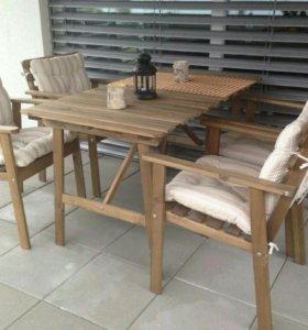 Икеа Аскхольмен стол и четыре стула