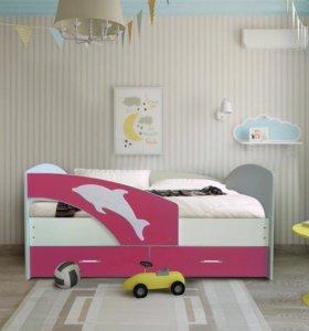 Кровать Мартин -2 (Новая)белая/розовый