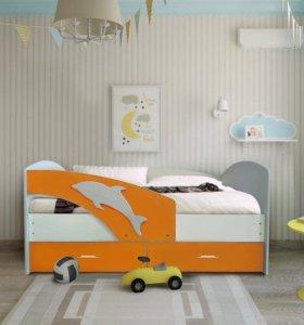 Кровать Мартин -2 (Новая)белая/оранжевый