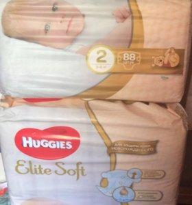 Подгузники HUGGIES elite soft 2 ( 3-6кг)